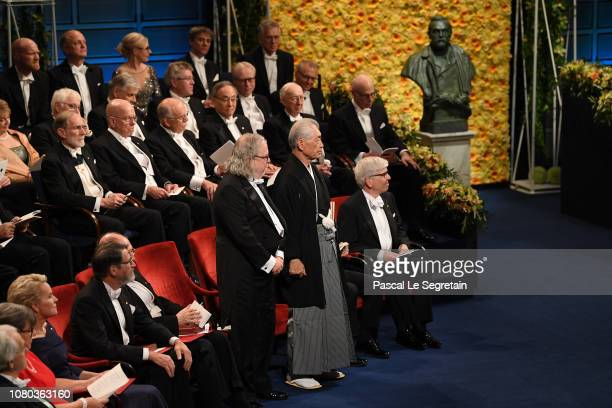 James P Allison and Tasuku Honjo laureates of the Nobel Prize in Physiology or Medicine acknowledge applause before they receive their Nobel Prize...