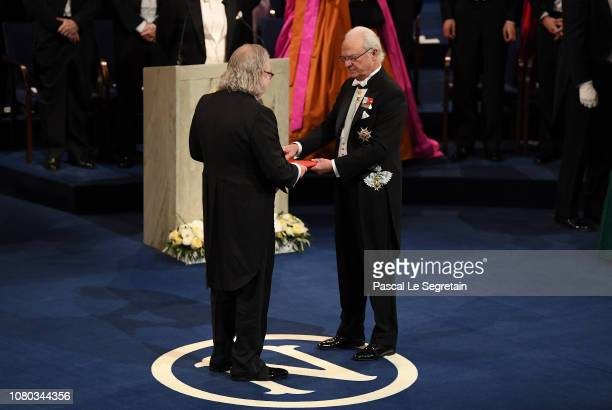 James P Allison laureate of the Nobel Prize in Physiology or Medicine receives his Nobel Prize from King Carl XVI Gustaf of Sweden during the Nobel...