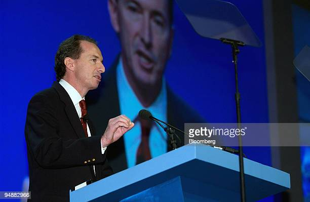 James P Gorman incoming head of Morgan Stanley's brokerage unit for individuals addresses the Securities Industry Association during their annual...