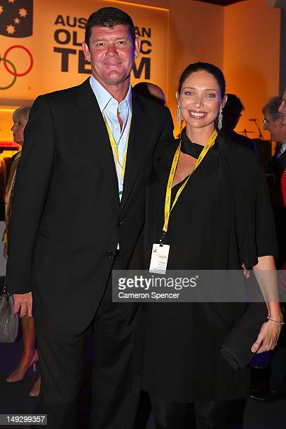 James Packer and his wife Erica Packer attend the Australian Olympic Committee 2012 Olympic Games team flag bearer announcement at the Stratford...