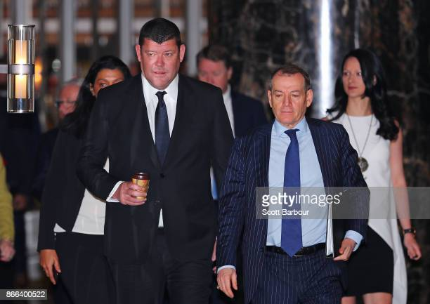 James Packer and John Alexander the Executive Chairman of Crown Resorts arrive to attend the Crown Resorts annual general meeting on October 26 2017...
