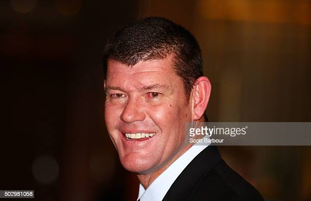 James Packer arrives at Crown Casino's New Year's Eve Party at Crown Palladium on December 31 2015 in Melbourne Australia