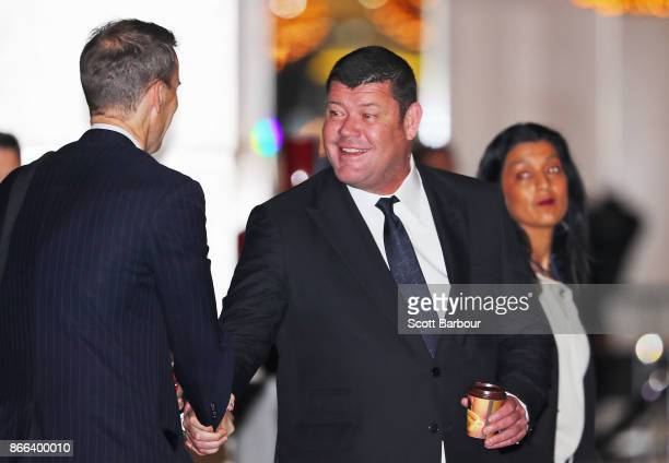 James Packer arrives to attend the Crown Resorts annual general meeting on October 26 2017 in Melbourne Australia The AGM comes just a week after...