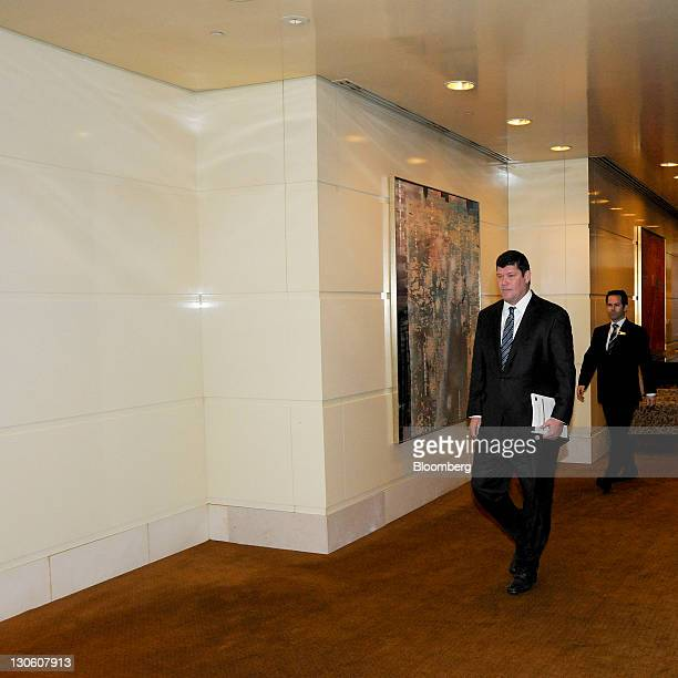 James Packer chairman of Crown Ltd arrives at the company's annual general meeting in Melbourne Australia on Thursday Oct 27 2011 Packer who controls...