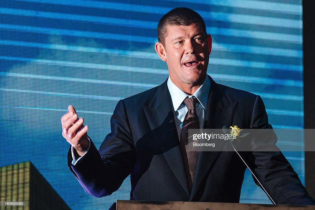 James Packer, co-chairman of Melco Crown Entertainment Ltd. and chairman of Crown Ltd., speaks during a news conference in Manila, the Philippines, on Wednesday, Oct. 9, 2013. Melco Crown Entertainment Ltd. co-Chairman Lawrence Ho said gambling revenue in the Philippines 'could easily' double to $4 billion in a couple of years, setting the stage to challenge Singapore as Asia's second-biggest gaming hub. Photographer: Julian Abram Wainwright/Bloomberg via Getty Images