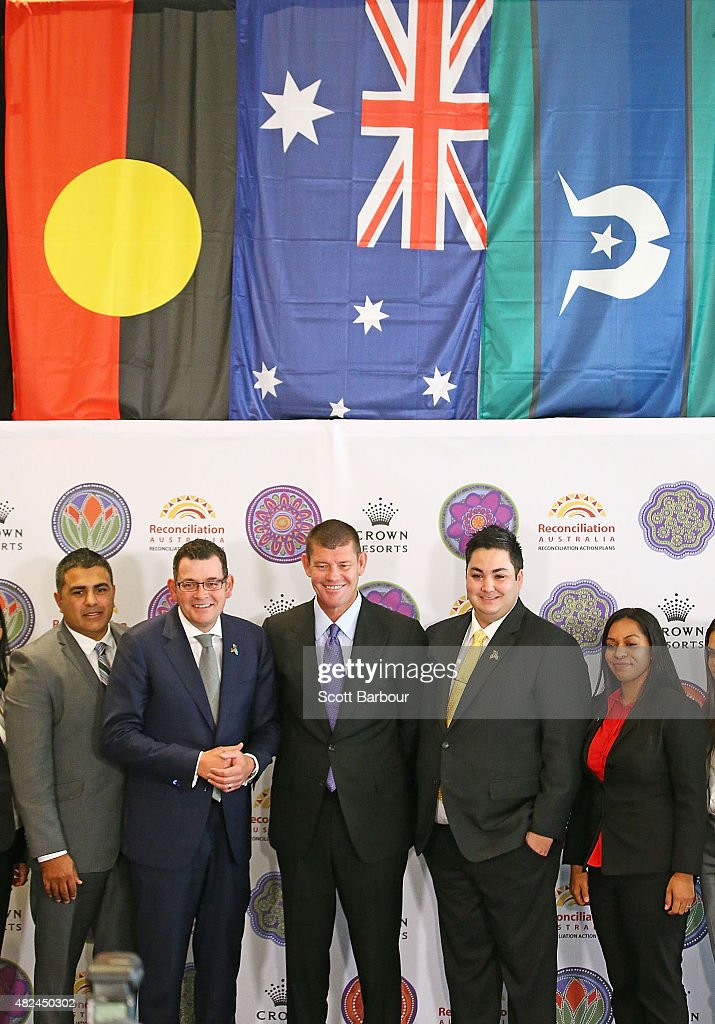 James Packer, Crown Resorts Chairman and Daniel Andrews MP, Premier of Victoria pose with members of the indigenous employee group as they launch Crown Resorts' second Reconciliation Action Plan on July 31, 2015 in Melbourne, Australia. After achieving all targets set in the first plan, Crown aims to place Indigenous employees into leadership programs to help them move into senior management roles.