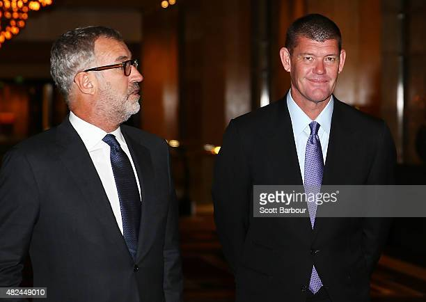 James Packer Crown Resorts Chairman and Robert Rankin CoChairman of Crown Limited arrive at the launch of Crown Resorts' second Reconciliation Action...
