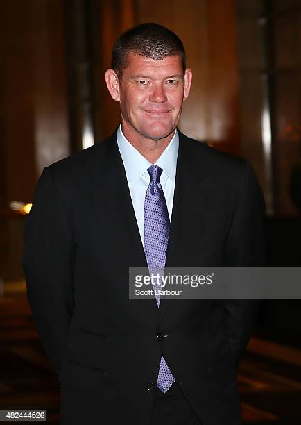 James Packer Crown Resorts Chairman arrives as he launches Crown Resorts' second Reconciliation Action Plan on July 31 2015 in Melbourne Australia...