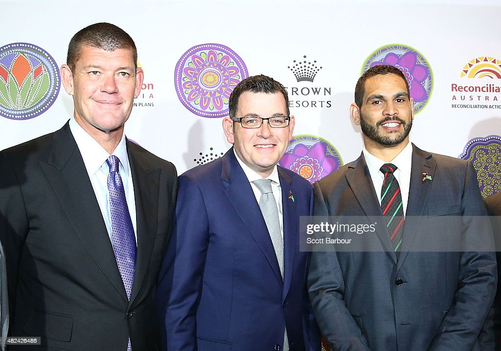 James Packer, Crown Resorts Chairman; Daniel Andrews MP, Premier of Victoria and Greg Inglis, South Sydney Rabbitohs NRL captain pose as they launch Crown Resorts' second Reconciliation Action Plan on July 31, 2015 in Melbourne, Australia. After achieving all targets set in the first plan, Crown aims to place Indigenous employees into leadership programs to help them move into senior management roles.