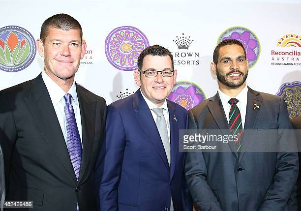 James Packer Crown Resorts Chairman Daniel Andrews MP Premier of Victoria and Greg Inglis South Sydney Rabbitohs NRL captain pose as they launch...