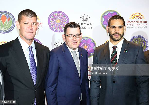 James Packer Crown Resorts Chairman Daniel Andrews MP Premier of Victoria and Greg Inglis South Sydney Rabbitohs NRL captain arrive at the launch of...