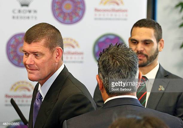 James Packer Crown Resorts Chairman leaves after speaking with Greg Inglis South Sydney Rabbitohs NRL captain during the launch of Crown Resorts'...