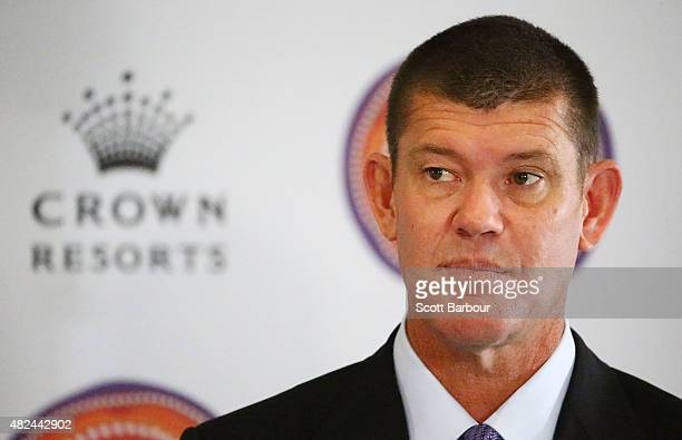 James Packer Crown Resorts Chairman speaks as he launches Crown Resorts' second Reconciliation Action Plan on July 31 2015 in Melbourne Australia...