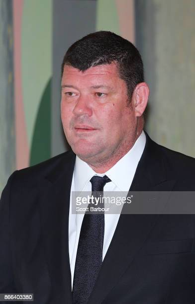 James Packer of Crown Resorts arrives to attend the Crown Resorts annual general meeting on October 26 2017 in Melbourne Australia The AGM comes just...