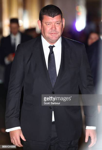 James Packer of Crown Resorts leaves after attending the Crown Resorts annual general meeting on October 26 2017 in Melbourne Australia The AGM comes...
