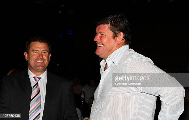 James Packer shares a joke with former cricketer Mark Taylor during the Shane Warne Foundation Boxing Day Breakfast at the Crown Entertainment...