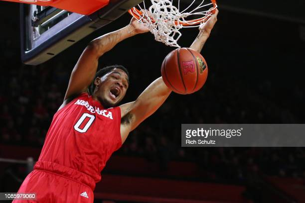 James Palmer Jr #0 of the Nebraska Cornhuskers dunks against the Rutgers Scarlet Knights during the first half of a game at Rutgers Athletic Center...