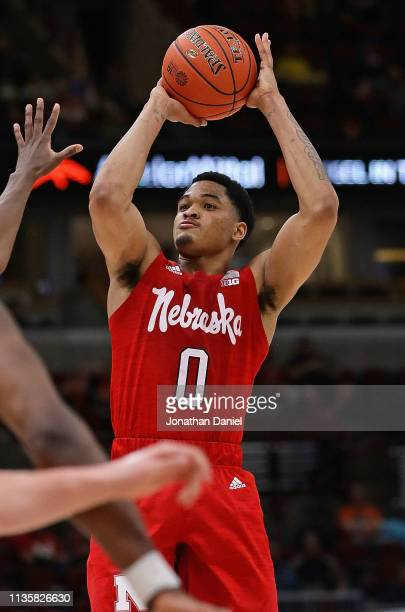James Palmer Jr #0 of the Nebraska Cornhuskers shoots against the Maryland Terrapins at the United Center on March 14 2019 in Chicago Illinois Ohio...