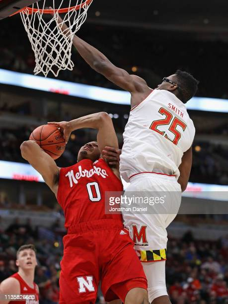 James Palmer Jr #0 of the Nebraska Cornhuskers tries to get off a shot under pressure from Jalen Smith of the Maryland Terrapins at the United Center...