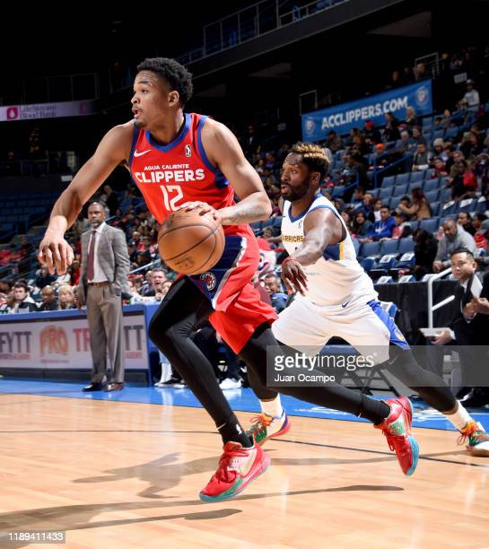 James Palmer Jr #12 of the Agua Caliente Clippers of Ontario dribbles past Jeremy Pargo of the Santa Cruz Warriors on December 17 2019 at Toyota...