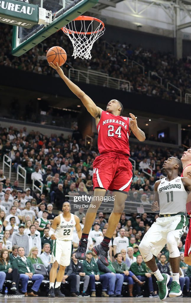 James Palmer Jr. #24 of the Nebraska Cornhuskers shoots a layup during the game against the Michigan State Spartans at Breslin Center on December 3, 2017 in East Lansing, Michigan.