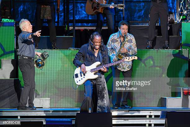 James Pankow and Walter Parazaider of Chicago perform with Verdine White of Earth Wind Fire at Concord Pavilion on July 15 2015 in Concord California