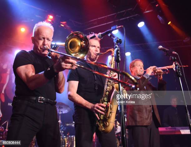 James Pankow Ray Herrmann and Lee Loughnane of Chicago perform For SiriusXM Live From Whisky a Go Go on June 5 2017 in West Hollywood California