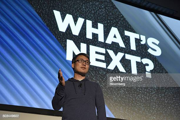 James Park chief executive officer of Fitbit Inc speaks during an event at the 2016 Consumer Electronics Show in Las Vegas Nevada US on Tuesday Jan 5...