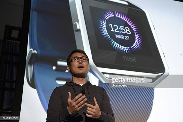 James Park chief executive officer of Fitbit Inc unveils the Fitbit Blaze fitness tracker during an event at the 2016 Consumer Electronics Show in...