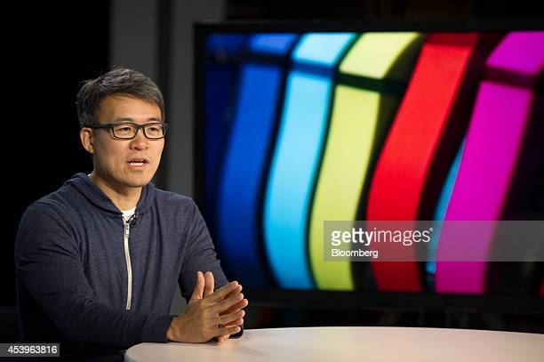 James Park cofounder and chief executive officer of Fitbit Inc speaks during a Bloomberg Television interview in San Francisco California US on...