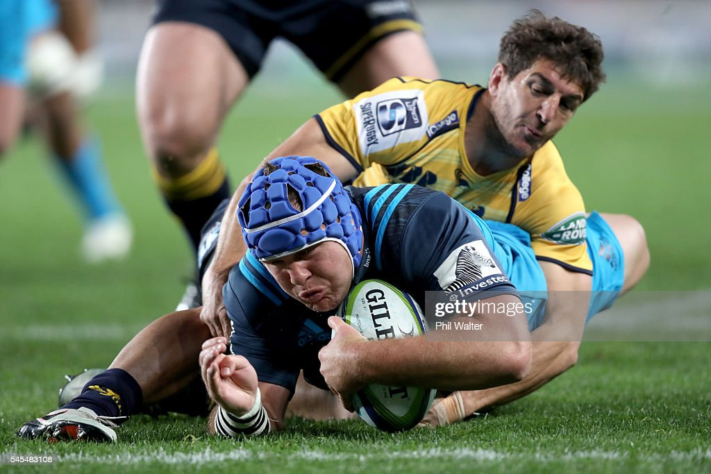 James Parsons of the Blueds scores a try during the round 16 Super Rugby match between the Blues and the Brumbies at Eden Park on July 8, 2016 in Auckland, New Zealand.