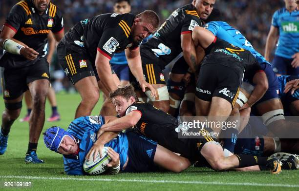 James Parsons of the Blues is stopped short of the line during the round two Super Rugby match between the Blues and the Chiefs at Eden Park on March...