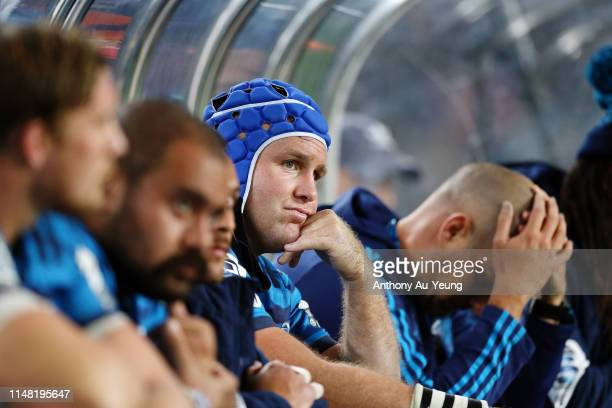 James Parsons of the Blues looks on from the bench during the round 13 Super Rugby match between the Blues and the Hurricanes at Eden Park on May 10...