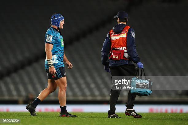 James Parsons of the Blues walks off with concussion during the round 14 Super Rugby match between the Blues and the Crusaders at Eden Park on May...