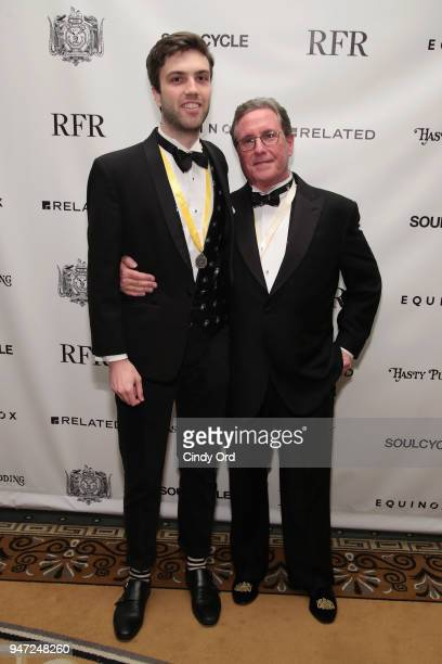 James Patrick Fitzpatrick and host Andrew Farkas attend as the Hasty Pudding Institute awards Derek McLane with the Order of the Golden Sphinx at The...