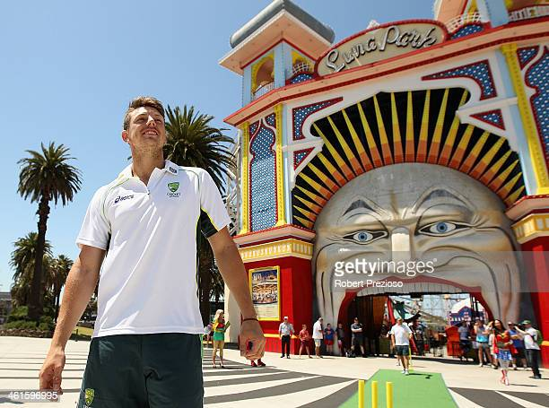 James Pattinson looks on during the One Day International Series launch at Luna Park on January 10 2014 in Melbourne Australia