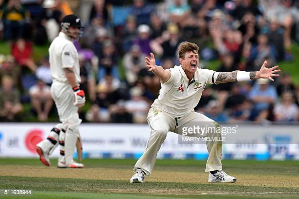 James Pattinson of Australia appeals for a LBW call on Brendon McCullum captain of New Zealand during day three of the second cricket Test match...
