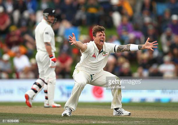 James Pattinson of Australia appeals for the wicket of Brendon McCullum of New Zealand during day three of the Test match between New Zealand and...