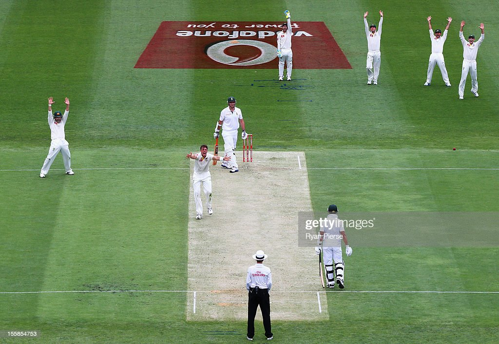 James Pattinson of Australia appeals for the wicket of Graeme Smith of South Africa during day one of the First Test match between Australia and South Africa at The Gabba on November 9, 2012 in Brisbane, Australia.