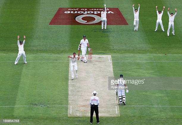 James Pattinson of Australia appeals for the wicket of Graeme Smith of South Africa during day one of the First Test match between Australia and...
