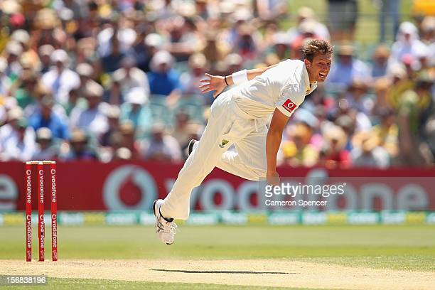 James Pattinson of Australia bowls during day two of the Second Test match between Australia and South Africa at Adelaide Oval on November 23 2012 in...