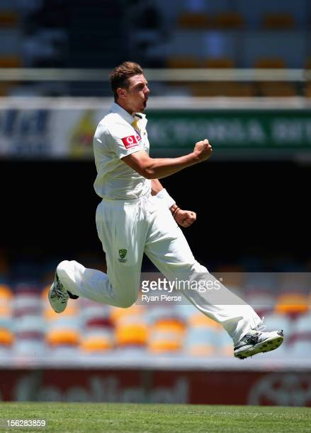 James Pattinson of Australia celebrates after bowling Hashim Amla of South Africa before the deilvery was deemed a no ball during day five of the...