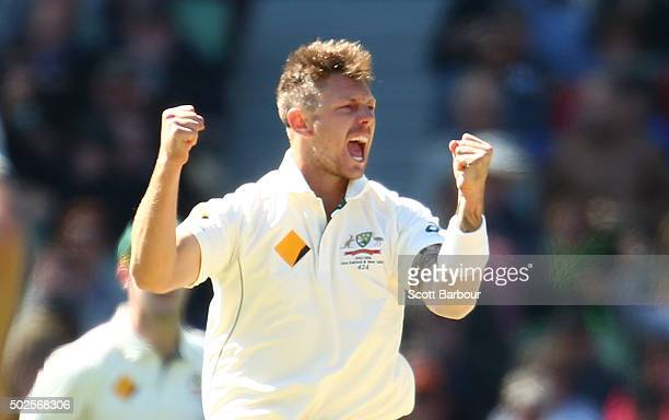 James Pattinson of Australia celebrates after dismissing Marlon Samuels of the West Indies during day two of the Second Test match between Australia...