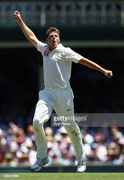 James Pattinson of Australia celebrates after dismissing Virender Sehwag of India during day one of the Second Test Match between Australia and India...
