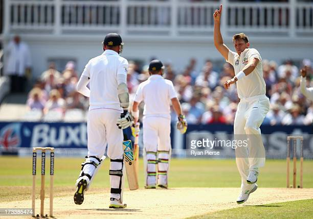 James Pattinson of Australia celebrates after taking the wicket of Stuart Broad of England during day four of the 1st Investec Ashes Test match...