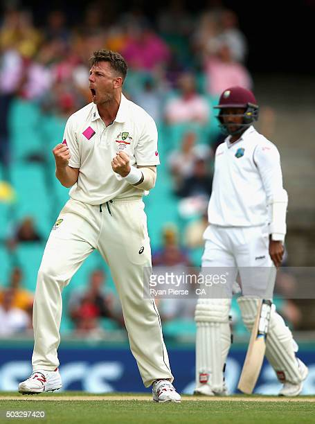 James Pattinson of Australia celebrates after taking the wicket of Carlos Brathwaite of West Indies during day two of the third Test match between...