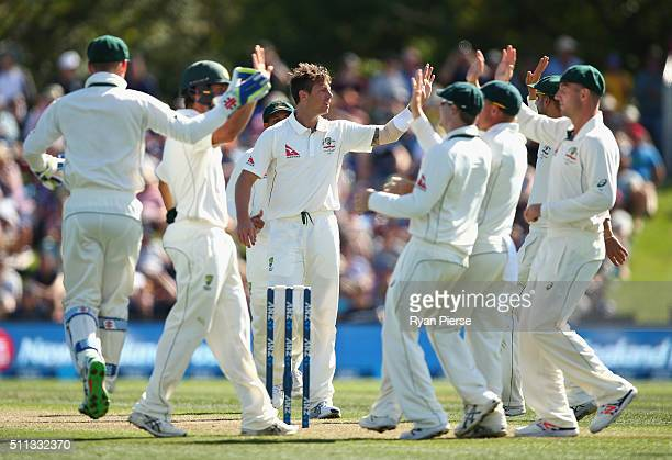 James Pattinson of Australia celebrates after taking the wicket of Martin Guptill of New Zealand during day one of the Test match between New Zealand...