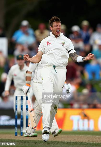James Pattinson of Australia celebrates after taking the wicket of Tom Latham of New Zealand during day three of the Test match between New Zealand...