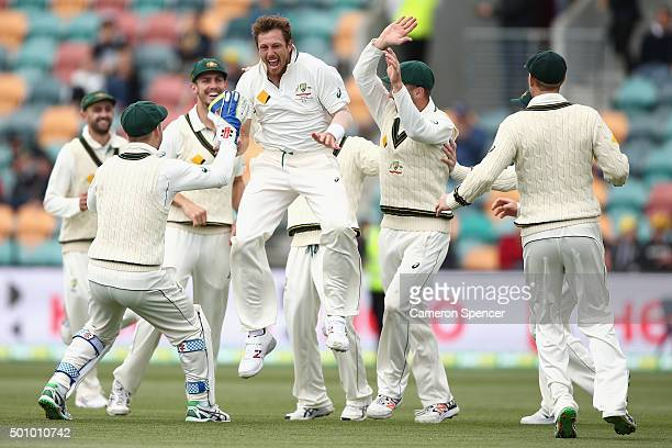 James Pattinson of Australia celebrates dismissing Jermaine Blackwood of the West Indies during day three of the First Test match between Australia...