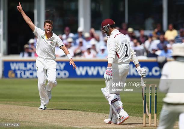 James Pattinson of Australia celebrates taking the wicket of Marcus Trescothick of Somerset during day three of the Somerset versus Australia tour...